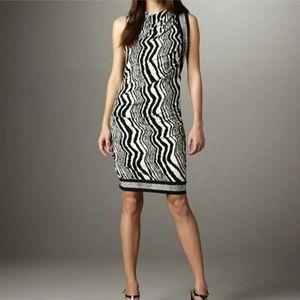 Ali Ro Zebra Versatile Ruched Dress Black White